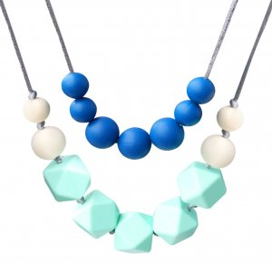 Bassion Baby Toy Silicone Teething Necklace Nursing Necklace for Mom to Wear, 4-in-1 Chewiness Baby Toys Teething Toys Teething Beads - Safety Knotted Silk Rope, BPA Free and FDA Approved